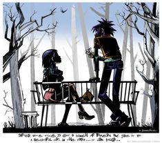 Jamie Hewlett - After some time 2D got a bunch of flowers and gave it to a beautiful girl in the park...it was Paula... [Gorillaz]