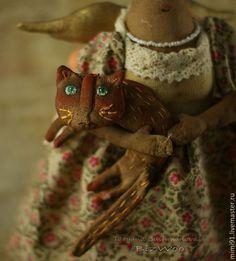 Купить Ангелина - ангел, примитив, примитивная кукла, кофейная игрушка, ароматизированная кукла, бязь тонированная