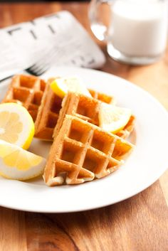 Lemon Belgian Waffles with Blueberry Syrup - Cooking Classy