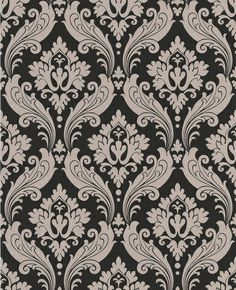 Vintage Flock: Black / Taupe Wallpaper from www.grahambrown.com
