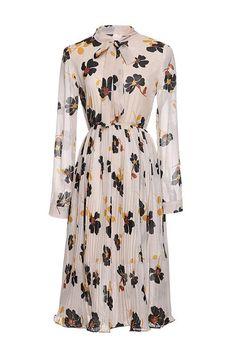 Bow Neck Floral Pleat Chiffon Dress