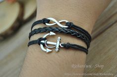 Silver Anchor & Infinity charm braceletBlack leather by Richardwu, $3.80
