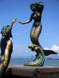 Puerto Vallarta Mermaid Statute in Mexico. The myths of mermaid have stemmed from every major culture in the world. Mermaid Sculpture, Art Sculpture, Mermaid Statue, Real Mermaids, Mermaids And Mermen, Fantasy Mermaids, Mythical Creatures, Sea Creatures, Bronze