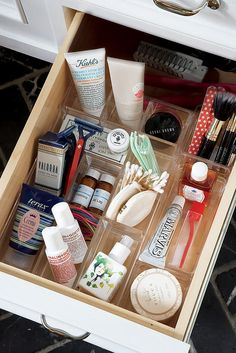 Drawer Organizers Idea: If shuffling through a drawer to find a tube of lipstick gives you anxiety, you'll be amazed by the efficiency that a simple drawer organizer can offer. Get it: This acrylic drawer organizer set allows you to use each of the pieces together or separately.