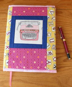 Quilted Fabric Journal Cover Pink Vintage by CandyKQuilts on Etsy.com $28