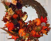 Autumn Seasonal Wreath. Fall Grapevine Wreath