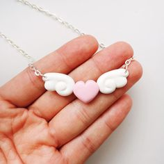 Polymer clay Heart with Wings Necklace Kawaii Winged Heart Gift for Her Angel wings cute Cardcaptor Sakura