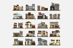 Family home,office building. Big set by Elegant Solution on @creativemarket