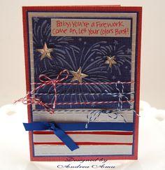 Handmade Patriotic Firework Greeting Card by Andrea Amu using Core'dinations cardstock and Darice Embossing folders.