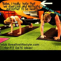 "Partner exercise ideas! ""A couple that stays fit together, sticks together!"""