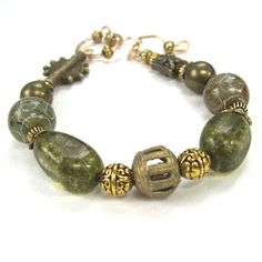 Eclectic Statement Bracelet Green by RoughMagicCreations on Etsy