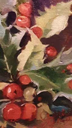 Winter Holly Oil Paintings, Oil On Canvas, This Or That Questions, Winter, Art, Winter Time, Art Background, Painted Canvas, Kunst