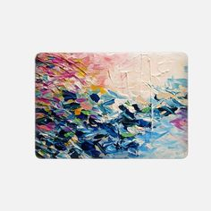 """Casetify Macbook Pro 15"""" (2016 - 2017) Macbook Snap Case - PARADISE DREAMING - Chic Colorful Pastel Pink Blue Turquoise White Ocean Waves Tropical Coastal Spring Summer Splash Nautical Nature Fine Art Textural Abstract Acrylic Painting  by Ebi Emporium"""