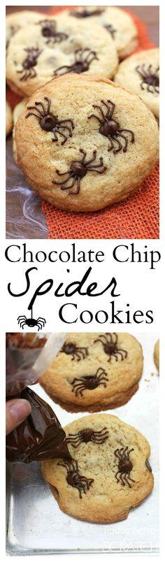 Galletas de chispas de chocolate ...o de arañas de chocolate? Hornéalas este halloween!