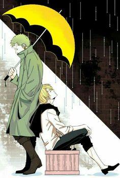 Zoro, Sanji, raining, umbrella, yaoi; One Piece
