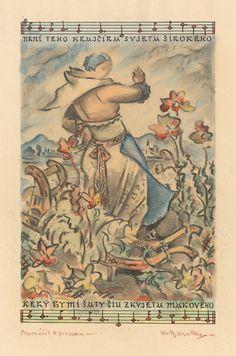 Martin Benka - Žena s kvetmi Graphic Art, Vintage World Maps, Folk, Illustration Art, Tapestry, Paintings, Artists, Hanging Tapestry, Tapestries
