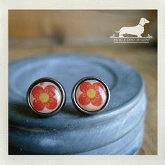 Coral Petals. Post Earrings  Vintage-Style by PickleDogDesign