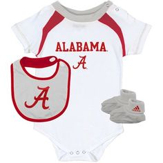 adidas Alabama Crimson Tide Infant Creeper, Bib & Booties Set - White/Crimson