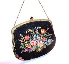 Small Petit Point Vintage 1930s NEEDLEPOINT Handbag Purse ROSES