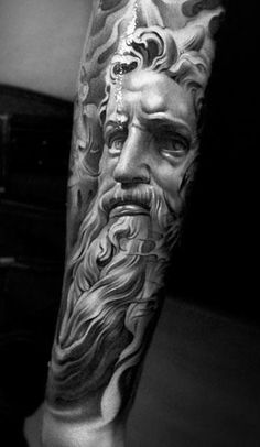 I'm sure there is more detail somewhere, but this looks like a Greek God in amazing detail. It is stunning! The shading and detail in this ink create a powerful story just through the character of the god.