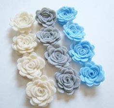 Trendy Posey Felt Mini Flowers Rose Gray Ivory & Light Baby Blue Flower Collection Set of 12 on Etsy, $5.99