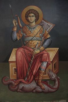 В Byzantine Icons, Byzantine Art, Religious Icons, Religious Art, Saint George And The Dragon, Art Icon, Orthodox Icons, Angel Art, Celestial