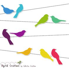 Rainbow Bird Silhouettes on Wire Digital Clipart Set - Ideal for Scrapbooking, Card Making and Paper Crafts, Clip Art on Etsy, $4.00
