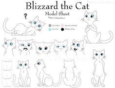 Blizzard the Cat Model Sheet by ~CelesteMoon on deviantART