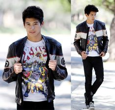 graphic TEEs! | bike leather jacket with korean style