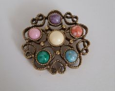 Signed Sarah Coventry Vintage Festival Brooch - Antique Gold Brooch with Marbled Stones - Vintage Brooch - 1970 Era - Costume Jewelry - Edit Listing - Etsy