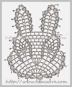 from Crochet lace Crochet Owls, Easter Crochet, Crochet Diagram, Crochet Stitches Patterns, Crochet Home, Thread Crochet, Filet Crochet, Crochet Motif, Crochet Designs