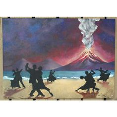 """Dance at the End of the World Original Acrylic Painting 20"""" x 28"""" ($225) ❤ liked on Polyvore featuring home, home decor, wall art, dance, framed paintings, dance painting, inspirational wall art, inspirational paintings and black figurines"""