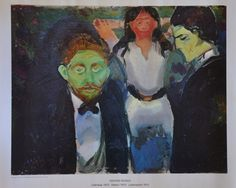 """Edvard Munch Print Leidenskap 1913, Passion 1913, Leidenschaft 1913. 22"""" x 18"""" Printed circa 1975, From the collection of Rolf Stenersen, Oslo. Poster is on good quality paper stock. It measures 22"""" x"""