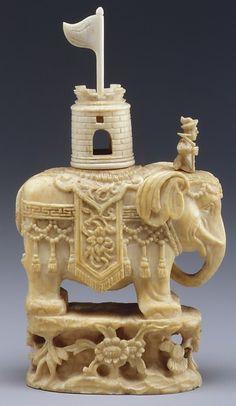 Chess set ca. 19th century. Peking, China - Ivory.