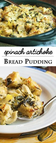 Spinach Artichoke Bread Pudding - This Creamy, Cheesy Bread Pudding Full Of Diced Artichokes And Chopped Spinach Is The Perfect Way To Use Up That Stale Bread In Your Cupboard And Turn It Into A Yummy, Flavor-Packed Side Dish. Leftover Bread Recipes, Savory Bread Puddings, Vegan Bread Pudding, Pudding Corn, Dinner Bread, Stale Bread, Pudding Recipes, Casserole Dishes, Chopped Spinach