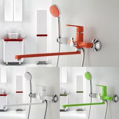 1 SET Multi-color Bathroom Shower Faucet Brass Body Surface Spray Painting Green Shower Head Water Tap