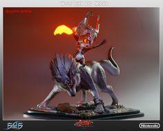 Figura de colección de The Legend of Zelda: Twilight Princess; de Wolf Link y Midna.