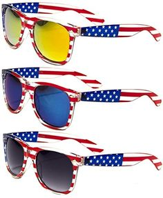 a85d1b41dc1 Classic American Patriot Flag Wayfarer Style Sunglasses USA (all 3 pairs)