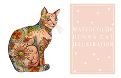 watercolor henna cat by lindsey bugbee- Uses a calligraphy nib with watercolours! Watercolor Illustration Tutorial, Easy Watercolor, Watercolor Paintings, Watercolours, Diy Painting, Postman's Knock, Cat Whisperer, F2 Savannah Cat, Illustrator Tutorials