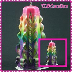 Rainbow candle, ready made, order now for delivery by Easter