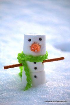 Schneemann aus Marshmallows