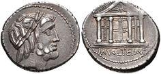 M. Volteius M.f. 75 BC. AR Denarius (19mm, 4.04 g, 6h). Rome mint.