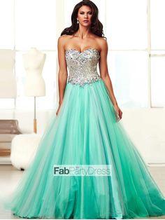 Ball+Gown+Sweetheart++Beading++Sleeveless+Floor-length+Tulle++Prom+Dresses+/+Evening+Dresses+