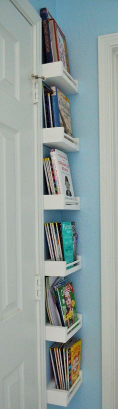 Stacked shelves behind and between two doors make great use of space.
