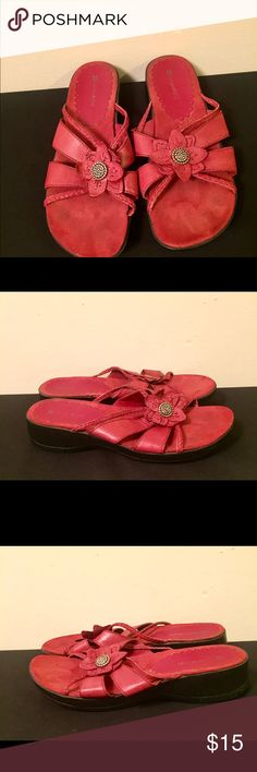 Like New Naturalizer Red Leather Open Toe Sandals. Like New worn once. Red with flower design on top of foot. Leather. Upper balance all Man Made material. Naturalizer Shoes Sandals
