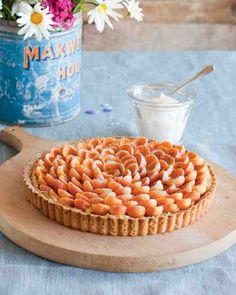 Almond-Apricot Tart with Whipped Cream - Rings of fresh apricots top the creamy amaretto filling on this tart, creating a gorgeous flowerlike effect.