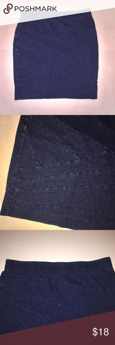 Simply Vera Denim-Like Pencil Skirt Bandage wrap denim-like skirt from the Vera Wang Simply Vera line. Pencil skirt style and elastic waistband. Worn, but in great condition. Color best represented in the second and third photos.  Offers welcome through the offer button. Receive 15% off when bundled with 2 other items in my closet. Simply Vera Vera Wang Skirts