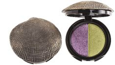 AMETHYST & EMERALD:  DuWop Sea Shell Compact Eye Dual Eyeshadow in Greedy (Deep Amethyst and Burnished Emerald Green)