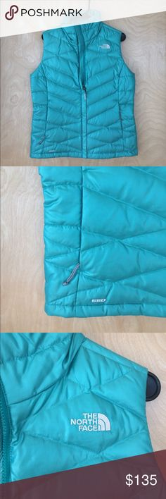 NWOT women's size medium north face vest NWOT women's size small north face 550 vest. Item has never been worn, has zippered pockets on both sides, and is a very pretty sea blue. Last 3 pictures (purple vest photos) are just to show what the vest looks like on a model. The North Face Jackets & Coats Vests