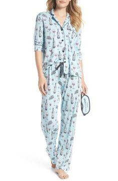 7de1e2e487 NWT-PJ-SALVAGE-Print-Top-Bottom-amp-Eye-Mask-Pajamas-Set-4909895-LIGHT-BLUE -M